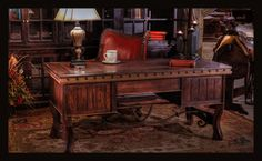 """The Clausen: Beautifully handcrafted executive desk of mesquite with iron accent at base and trim. 66"""" L x 30"""" D x 30"""" H www.brumbaughs.com 817.244.9377"""