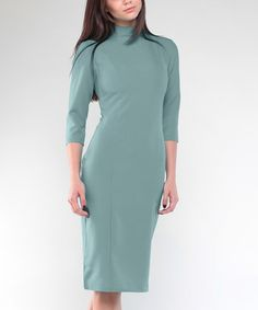 Another great find on #zulily! Olive Mock Neck Sheath Dress - Plus Too #zulilyfinds