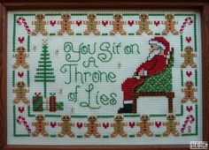 "Buddy the Elf's ""Throne of Lies"" Cross Stitch -- I would make an embroidery pattern"