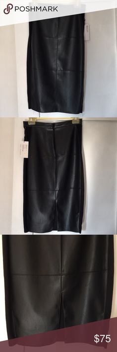 Bailey 44 Sleek fitted skirt Very pretty midi length skirt in leather with jersey side detail.  Small dots in leather from pin perhaps, right above back slit. Besides that it is perfect & never worn. Measurements: waist 26-27 Length 25 inches Hips: 34 in Bailey 44 Skirts Pencil