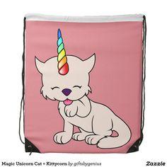 Magic Unicorn Cat = Kittycorn Drawstring Bags