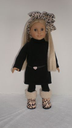 BLACK SWEATER DRESS Hair Tie Belt Socks & Boots by dollupmydoll, $23.00