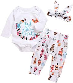 6414eb85b Amazon.com: EGELEXY Baby Girls Isn't She Lovely Printed Long Sleeve Rompers  Long Pants Headeband 3pcs Size 0-3 Months/Tag70 (White): Clothing