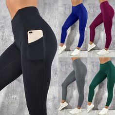 87bb96e1b77528 Women's Solid Workout Leggings Fitness Sports Gym Running Yoga Athletic  Pants