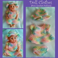 Doll Clothes Free Crochet Pattern Click Visit link to see These crochet doll clothes are fun and easy to make. Find this and many more free crochet patterns by Oui Crochet. best ideas about Crochet doll The doll dress pattern collection included doll dre Crochet Doll Dress, Crochet Doll Clothes, Crochet Doll Pattern, Crochet Patterns, Knitting Patterns, Pattern Sewing, Pants Pattern, Baby Patterns, Crochet Ideas