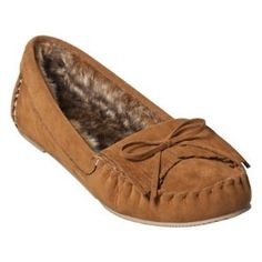 Brown moccasin slippers with rubber bottom