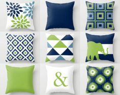 Throw Pillow Cover designs in Pear, Navy, Teal, Sapphire, Aqua Sky, and Light Beige. Individually cut and sewn by hand, features a 2 sided print
