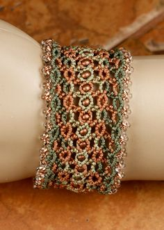 FREE SHIPPING-CUFF Bracelet Macrame Bracelet Earth Tones Bracelet - Women's Bracelet Boho Bracelet Lacy Copper Bracelet - srajd Teal Eve's