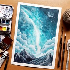 Sunday is my Paint day! Here's my 2nd A4 size Galaxiscape.  Turqouise blue is always my favorite color 😍💙 Love how it turned out 😍😍😍 Do you agree? 😉  I used ShinHan Art PWC Extra Fine Turqouise blue + Neutral Tint also PASS for the stars, clouds and moon all from @artwhale.ph 😍  Have blessed Sunday to all and have a creative day! Off to somewhere with my girlfriend 💑 hehe 💜 Ciao! 👋😊 #inktober