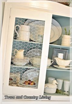 painted chicken wire for the cabinet fronts, instead of the expected glass farmhouse kitchen decor style diy project diy farmhouse living kitchen decor kitchen layout kitchen organization modern farmhouse Design Room, Küchen Design, Home Design, Design Hotel, Creative Design, Kitchen Redo, New Kitchen, Kitchen Remodel, Kitchen Ideas