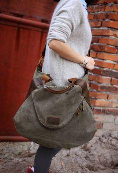 Large Capacity Shoulder Bag Leather Canvas Bag (2) Large Handbags, Tote Handbags, Cross Body Handbags, Canvas Leather, Leather Bags, Shoulder Handbags, Shoulder Bags, Fashion Handbags, Luxury Handbags