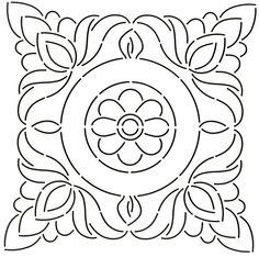 Quilt Stencil Floral Block - 11in