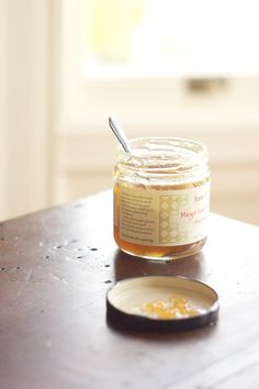 blurred out white bg, back corner of table || Meyer Lemon & Bay Laurel Marmalade