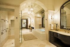 Rough Hollow Master Bath - mediterranean - bathroom - austin - by Cornerstone Architects