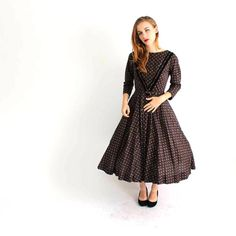 1950s dress with full circle skirt . vintage brown floral by aorta