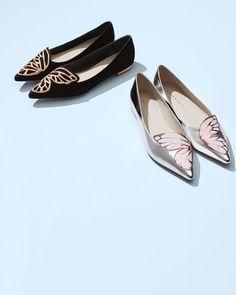 Bibi Butterfly Metallic Leather Flat, Silver/Rose Gold