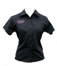 Exile Cycles Girls, Fitted Workshirt, short sleeve, Black Uniform Shirts, Work Shirts, Shirts For Girls, Chef Jackets, Cycling, Fitness, T Shirt, Sleeve, Clothes