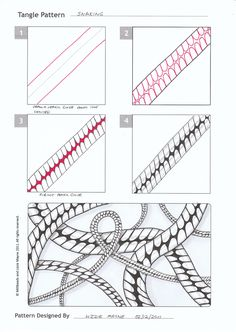 Zentangle Step By Step | Lizzie Mayne has posted steps to her tangle patterns Snaking and Yagi ...