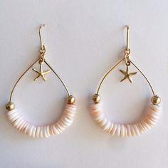 Seashell Jewelry, Ear Jewelry, Bead Jewellery, Cute Jewelry, Jewelry Crafts, Beaded Jewelry, Jewelery, Jewelry Accessories, Jewelry Design