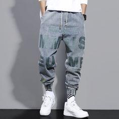 Denim Joggers, Jeans Denim, Cargo Pants, Jeans Pants, Estilo Harajuku, Street Jeans, Fashion Pants, Mens Fashion, Estilo Hip Hop