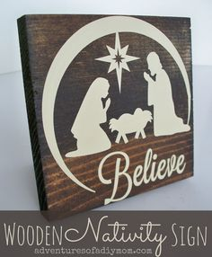 Wooden Nativity Sign - Adventures of a DIY Mom Pallet Christmas, Christmas Nativity, Christmas Signs, Christmas Projects, Christmas Art, Holiday Crafts, Holiday Fun, Christmas Decorations, Christmas Bells