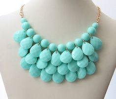 Party Necklace Aqua Blue Necklace Women's Jewelry