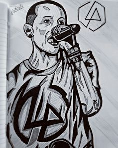 Chester  drawing- Linkin Park - fanart - my draw - black and White