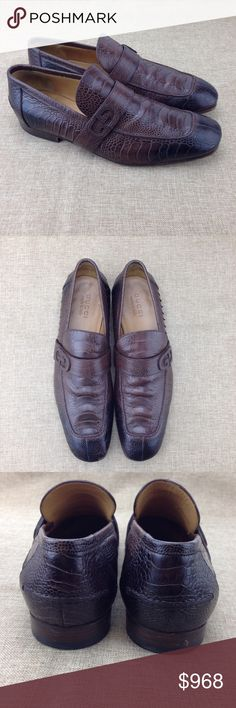 """Gucci Brown Men's Ostrich Leg Loafers Gucci Men's Brown Ostrich Loafers in good condition. """"GG"""" logo on strap embellishment. Stacked heels. Made in Italy. 100% pre-owned authentic.  CONDITION: Scuff on soles, Exterior scuffs or marks Size: 9.5 Gucci Shoes Loafers & Slip-Ons"""