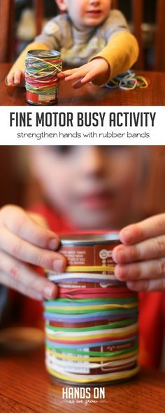 This activity is a great way to keep kids busy - just rubber bands and a soup can from the pantry! via @handsonaswegrow