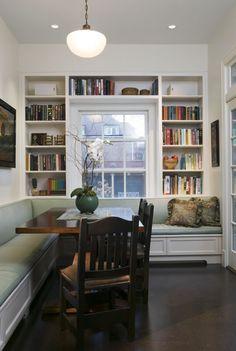 breakfast nook: shelving around window...in kitchen nook, or around living room window, w/glass cabinet doors on shelves too