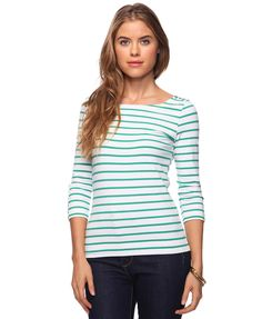 Classic striped boatneck with a green twist.