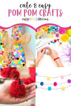 These cute pom pom craft ideas include crafts for kids home decor ideas and even cute gifts. These projects are SO fun! Summer Activities For Kids, Easy Crafts For Kids, Pom Pom Crafts, Flower Crafts, Quick And Easy Crafts, Simple Crafts, Pom Pom Tutorial, Pom Pom Headband, How To Make A Pom Pom