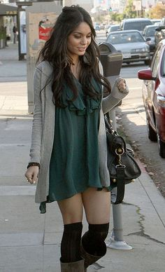 Vanessa Hudgens Fashion Style. Love dress with high socks and boots!  HotWomensClothes.com