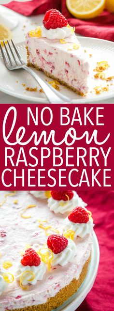 This Easy No Bake Lemon Raspberry Cheesecake is the perfect easy-to-make cheesecake that's ultra creamy & delicious, and packed with raspberries & lemon! Recipe from thebusybaker.ca! #lemonraspberry #cheesecake #nobakecheesecake #fruitcheesecake #summerdessert #nobakedessert via @busybakerblog Easy No Bake Desserts, Köstliche Desserts, Best Dessert Recipes, Cupcake Recipes, Cookie Recipes, Delicious Desserts, Breakfast Recipes, Best No Bake Cheesecake, Baked Cheesecake Recipe