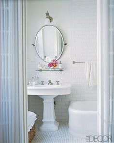 "Simple and clean vintage bath with porcelain tiles, most 1920's baths had 1"" hexagonal shape."