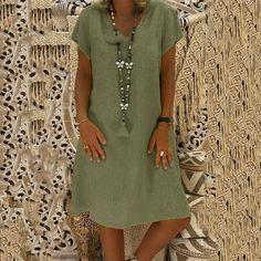 bf057f33 Boho V-neck Loose Short Sleeve Mini Dresses