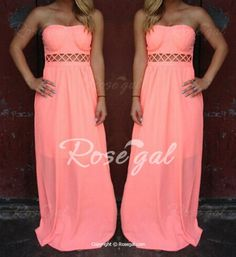 Stylish Strapless Sleeveless Solid Color Hollow Out Women's Dress Maxi Dresses | RoseGal.com Mobile