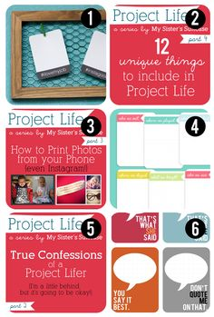 Lots of great Project life ideas,  Especially like the one about how to print photos from your phone and what to include in project life.  #papercraft #scrapbooking #ProjectLife