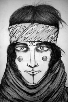 The guide by Blue9boy  Berber woman, oriental, face tattoos, headband, scarf, ink, pen, tribal, conceptart, comic, Bande dessinée