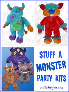 stuff a plush monster party kits