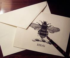 Napoleonic Bee Monogrammed Personalized Note Cards Black Ivory Set of 10 with 3 Initials Great Hostess Gift