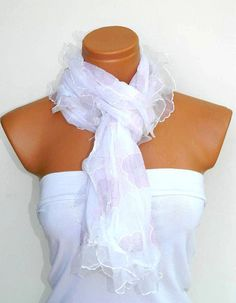 Womens shawl scarves white Frilly fancy flower by WomanStyleStore, $19.00