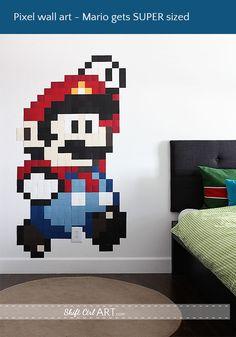 DIY: super-sized Mario-inspired pixel wall art