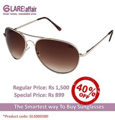 Farenheit FA-566 Golden Brown Gradient Aviator Style Sunglasses http://www.glareaffair.com/sunglasses/farenheit-fa-566-golden-brown-gradient-aviator-style-sunglasses.html  Brand : Farenheit  Regular Price: Rs1,500 Special Price: Rs899  Discount : Rs601 (40%)