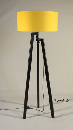 Handmade Tripod Floor lamp, unique wooden stand colored in black matt, drum lampshade, different colors lampshade,model Zornitsa Black Matt