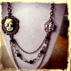 Goth Skull Cameo and Vintage Earring by TheRustySpiderweb on Etsy, $46.00