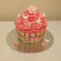 Giant cupcake butterfly birthday cake