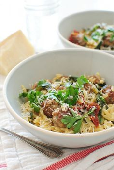Orzo with Collard Greens, Sausage Meatballs and Sundried Tomatoes | Bev Cooks