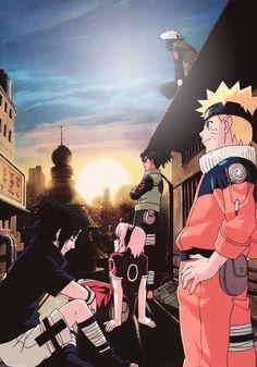 Naruto , Sasuke , Sakura , Iruka and Kakashi