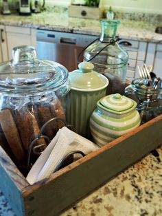 Idea: coffee bar items in a box/tray - collecting ideas for my coffee/chai bar I'm creating :)